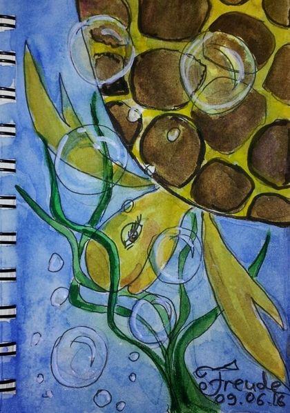 Freude, Seifenblasen, Schildkröte, Malerei