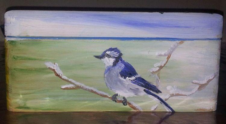 Vogel, Winter, Zweig, Malerei