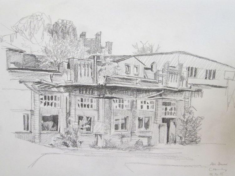 Bleistiftzeichnung, Altbau, Urban sketches, Zeichnungen