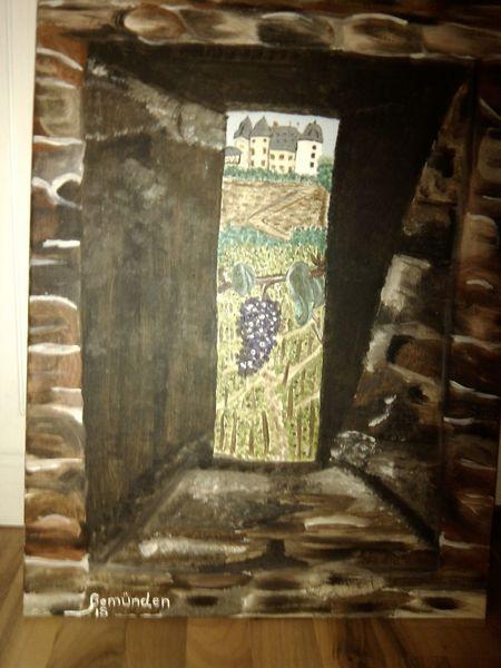 Frau, Burg, Acrylmalerei, Fenster, Schießscharte, Braun