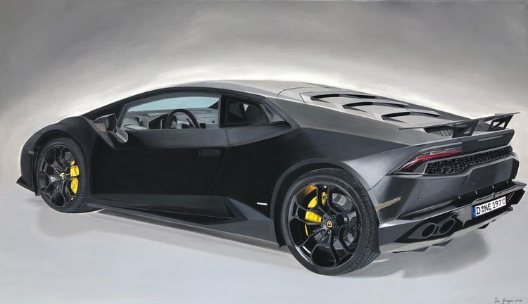 Fotorealistische malerei, Auto, Lamborghini huracan, Ölmalerei, Autrag, Malerei