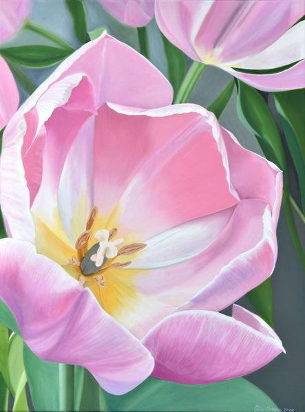 Rose', Blumen, Tulpen, Ölmalerei, Malerei,