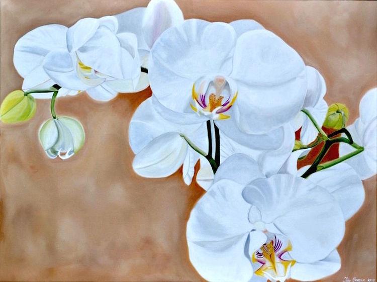 Blumen, Ölmalerei, White orchidee, Fotorealismus, Malerei, Orchidee