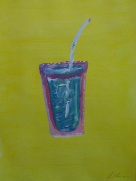 Wasser, Becher, Glas, Strohalm, Pink, Malerei