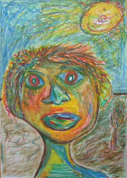Gesicht, Himmel, Baum, Figur, Landschaft, Kopf