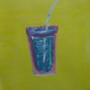 Becher, Glas, Strohalm, Pink