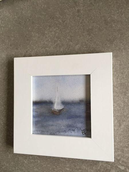 Meer, Boot, Segel, Segelboot, Aquarell, Wasser