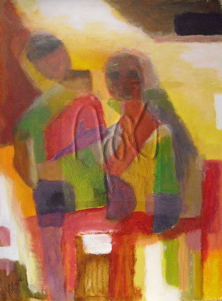 Menschen, Hütte, Afrika, Malerei