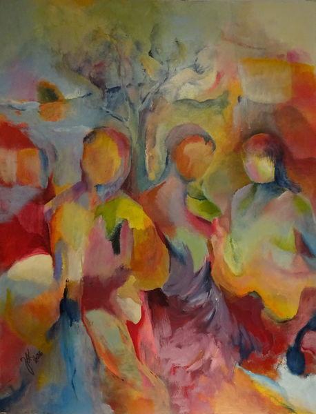 Gruppe, Frau, Kind, Landschaft, Malerei, Fremde