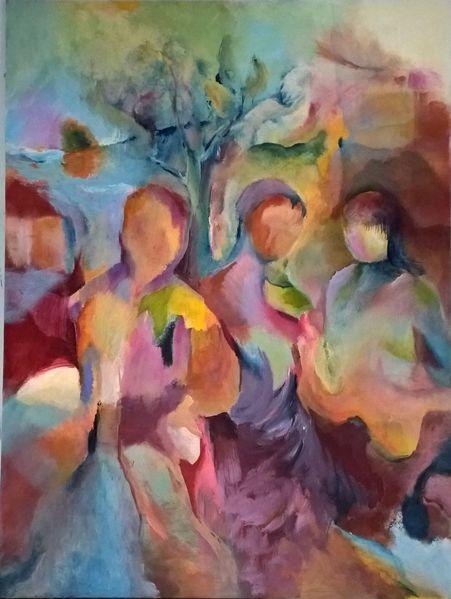 Bewegung, Abstrakt, Menschen, Malerei, Kind, Fremde