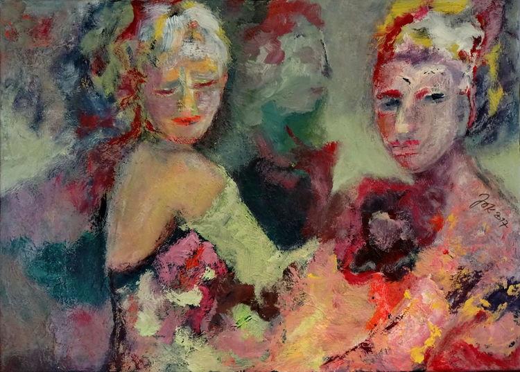 Frau, Festlich, Blumen, Malerei