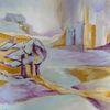 Bleu, Gelb, Landschaft, Malerei