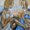 Figur, Gelb, Blau, Malerei