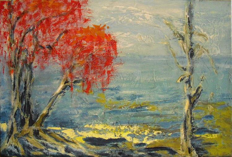 Stille, Wasser, Ufer, Malerei