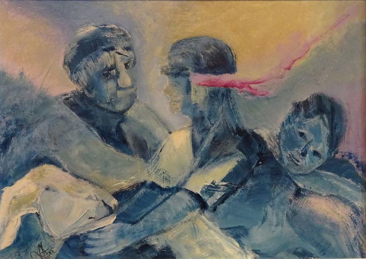 Landschaft, Mann, Ziegen, Frau, Kind, Malerei