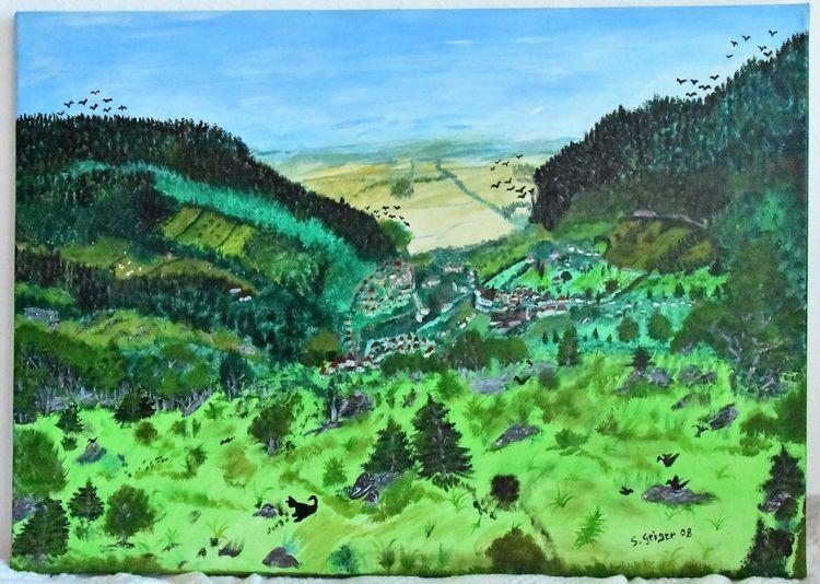Landschaft, Malerei, Natur, Acrylmalerei, Grün, Blick