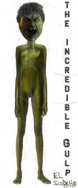 Beelzebub, Hulk, Grün, Dünn, Mischtechnik