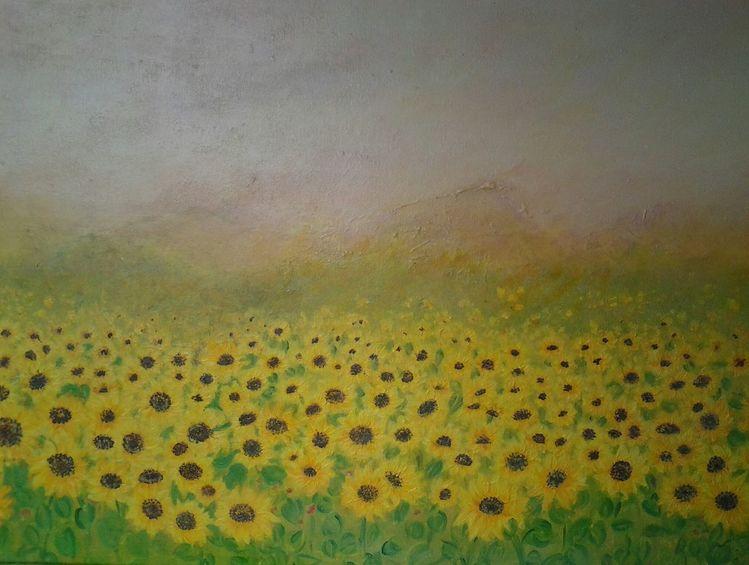 Blumen, Himmel, Abend, Sonne, Malerei