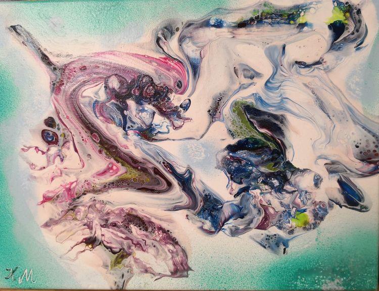Weiß, Grün, Pouring, Malerei
