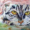 Im versteck, Katze, Lauernd, Malerei
