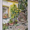 Treppe, Grün, Rose gelb, Aquarell