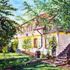 Haus, Garten, Sommer, Malerei
