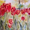 Rot, Tulpen, Vorgarten, Aquarell