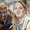 Ölmalerei, Im garten, Untermalung, Malerei