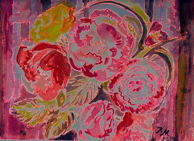 Digital verfremdet, Blumen, Sehr ornamental, Aquarellmalerei, Seidenmohn, Natur