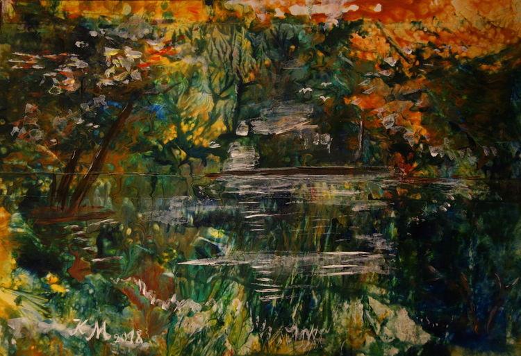 Acrylmalerei, Pappe, Teich, Malerei, Waldsee