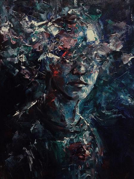Ölmalerei, Spachteltechnik, Abstrakt, Mann, Malerei