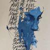 Mixed media, Surreal, Gesicht, Schrift