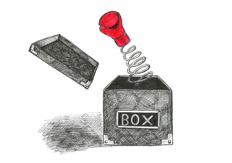 Boxhandschuh, Springteufel, Kiste, Schachtel, Zeichnungen, Box