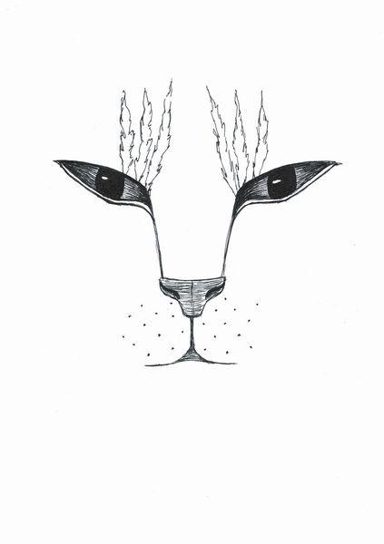 Glas, Katze, Kokardenblume, Zeichnungen, Kelch