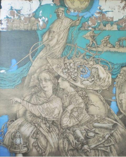 Laterne, Gondel, Fantasie, Frau, Venedig, Italien