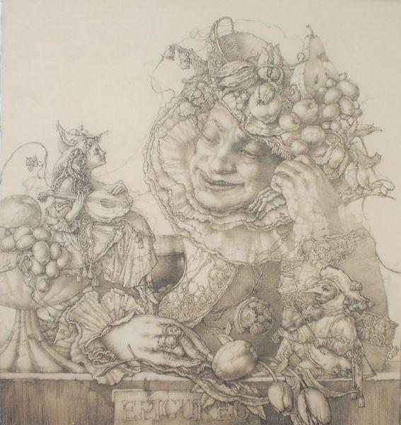 Barock, Blumen, Männergestalt, Italien, Mandoline, Wein