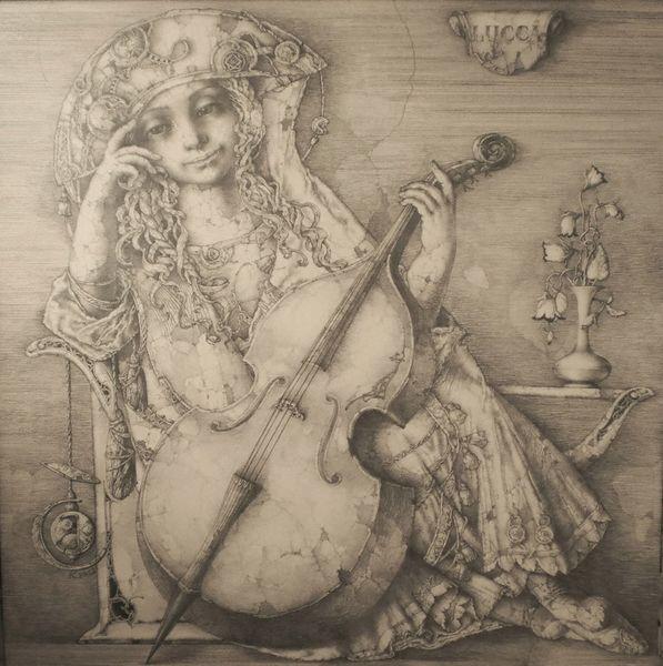 Sitzen, Allegorie, Stadt, Frau mit kontrabass, Italien, Zeichnung