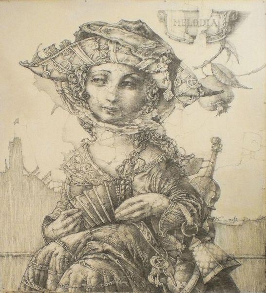 Frauenbild, Sitzen, Zweig mit granatapfel, Zeichnung, Harmonika, Detailliert