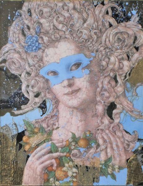 Frauengestalt, Maske, Barock, Mischtechnik, Sanssouci, Karneval