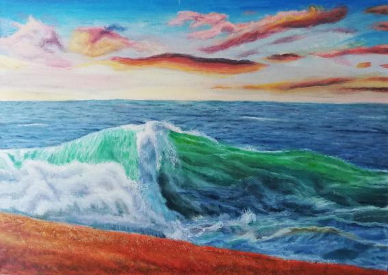 Farben, Himmel, Magie, Malerei, Welle