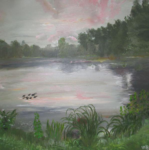 See, Ente, Abendstimmung, Malerei, Abend