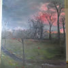 Steinweg, Abendhimmel, Malerei,