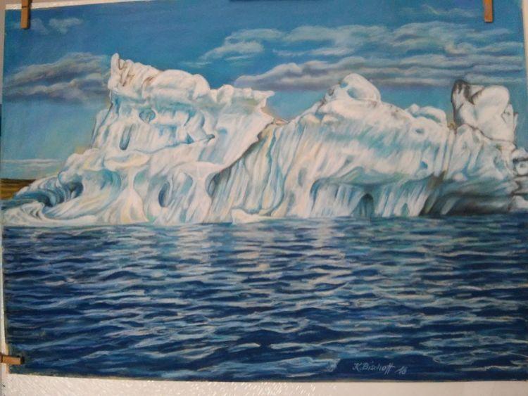 Island, Meer, Blau, Eisberg, Wolken, Zeichnungen