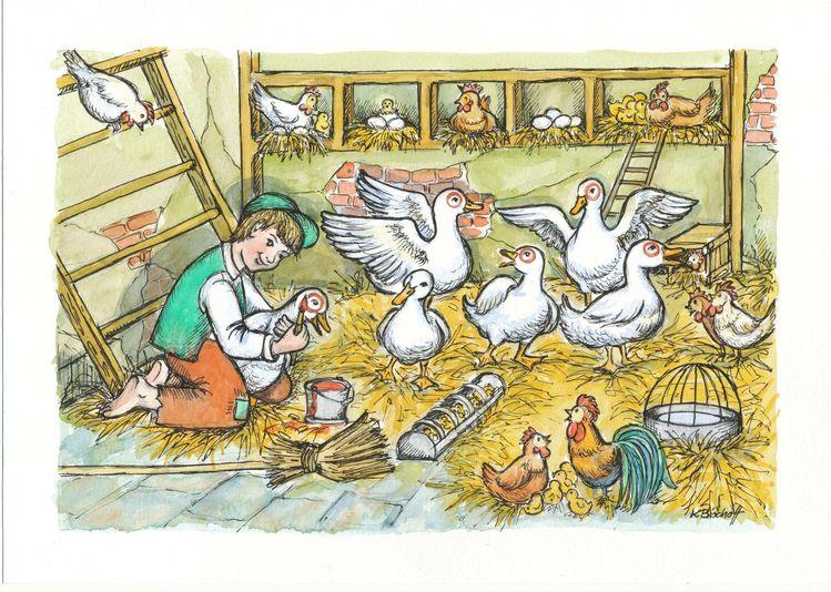 Ente, Stroh, Leiter, Stall, Junge, Huhn