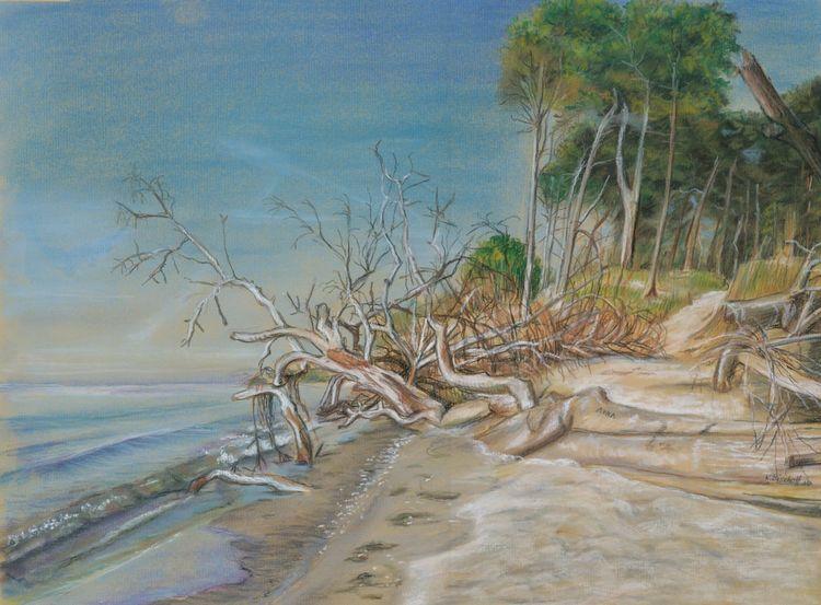 Blau, Sand, Strand, Himmel, Ostsee, Zeichnungen