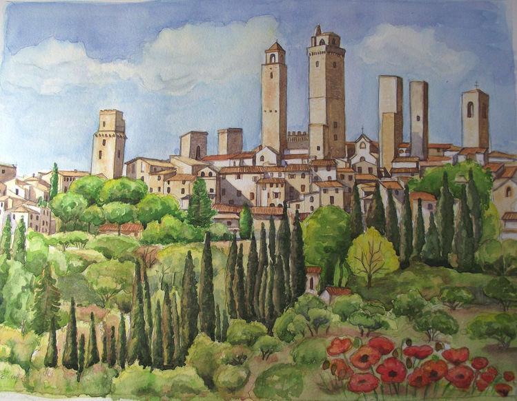 Stadt, Toskana, Aquarell,