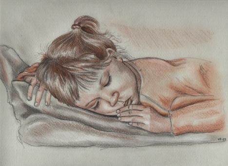 Rötel, Bleistiftzeichnung, Zeichnungen, Mädchen,