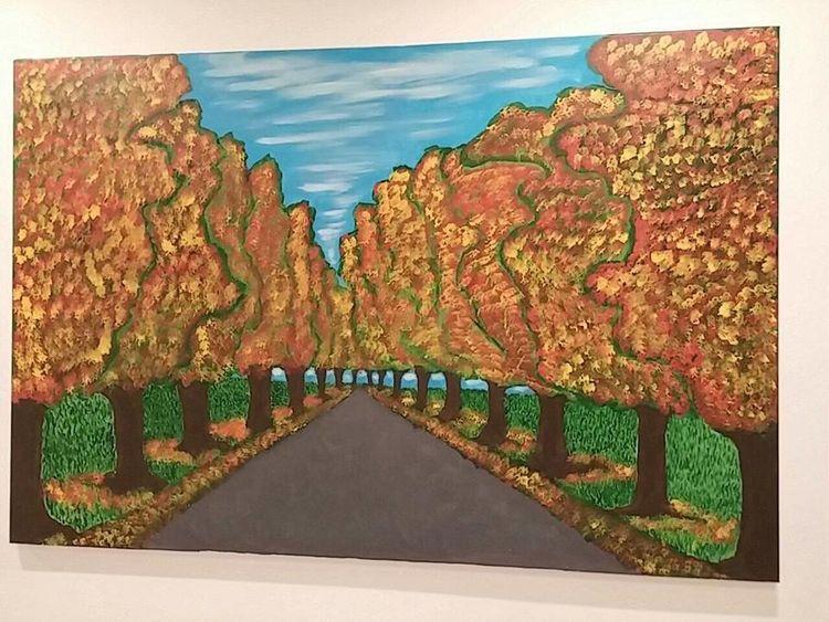 Allee, Herbst, Farben, Acrylmalerei, Malerei