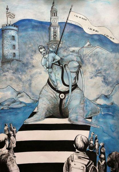 Reiter, Zeit, Flut, Straight edge, Zeichnung, Aquarellmalerei