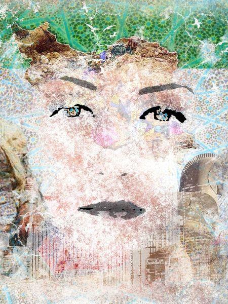 Weiblich, Bunt, Digital, Frau, Anmut, Digitale kunst